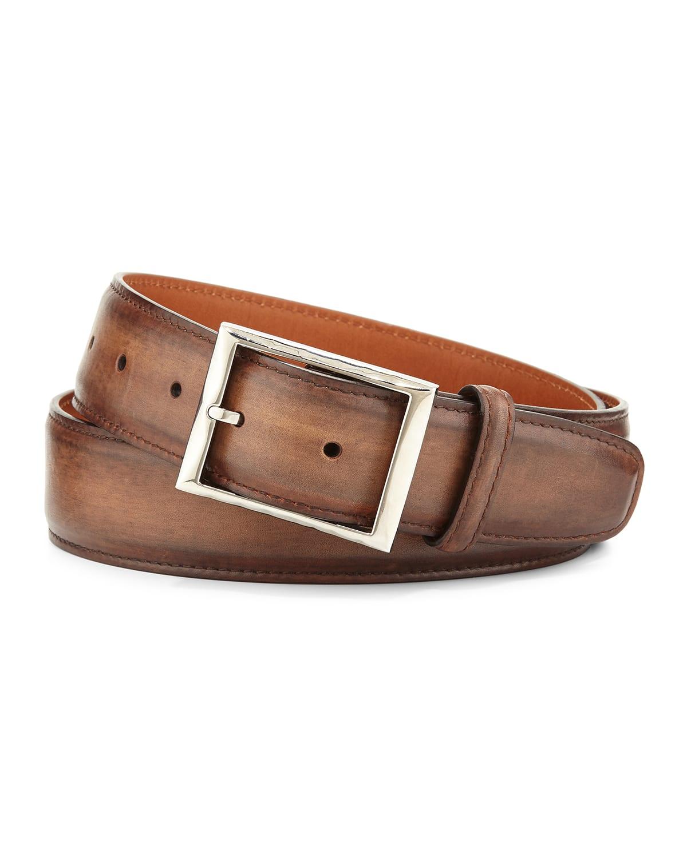 Men's Classic Burnished Leather Belt