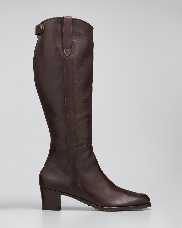 Leather Zip Knee Boots