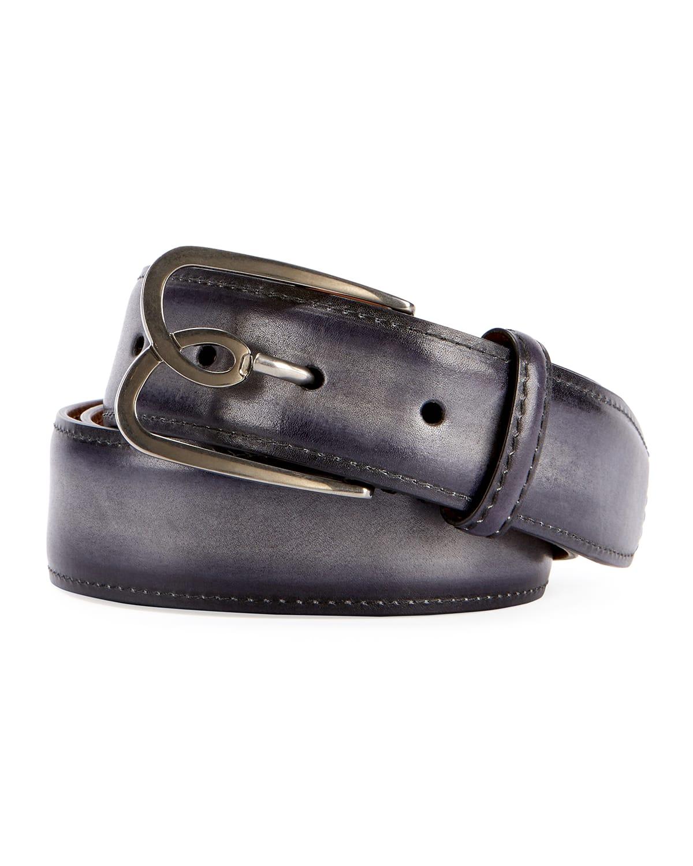 Metal-Logo Leather Belt
