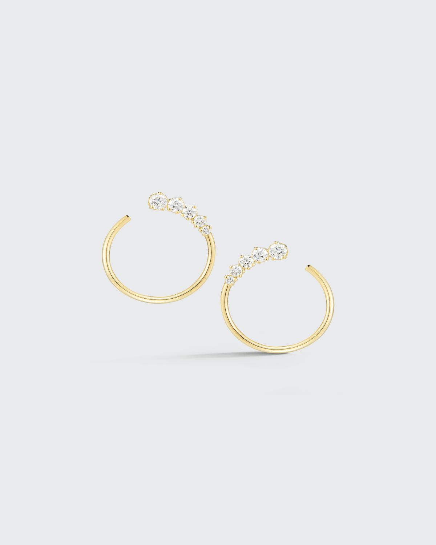 Gold Prive On Ear Diamond Hoops w/ Graduated Prong Set Diamonds 0.70 ct. Diamond