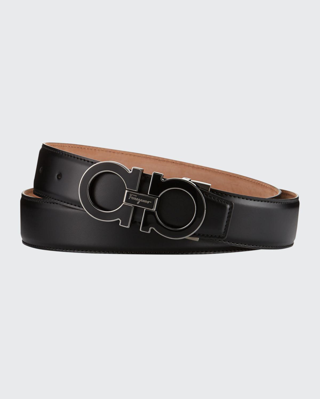 Men's Enamel Double Gancini Belt, Black