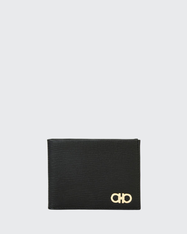 Men's Revival Gancini Bi-Fold Leather Wallet with Window, Black