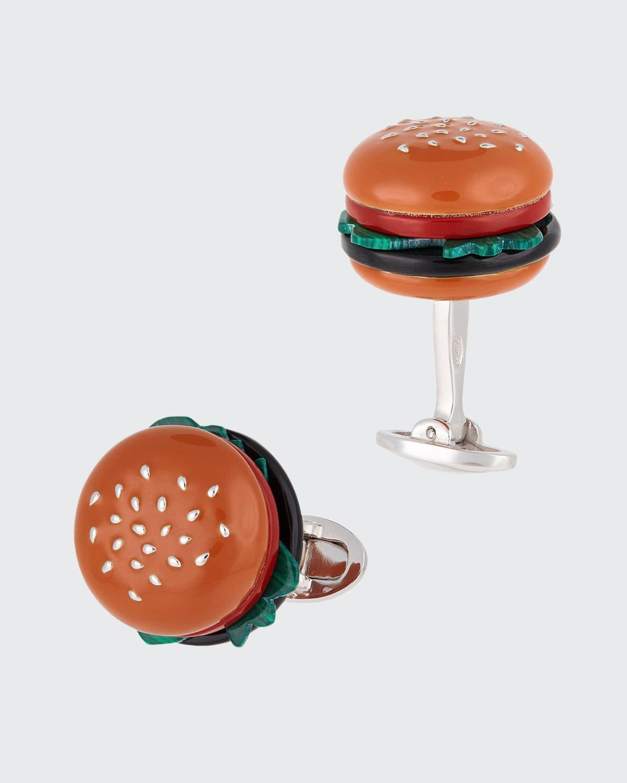 Hamburger Cufflinks w/ Mixed Stones