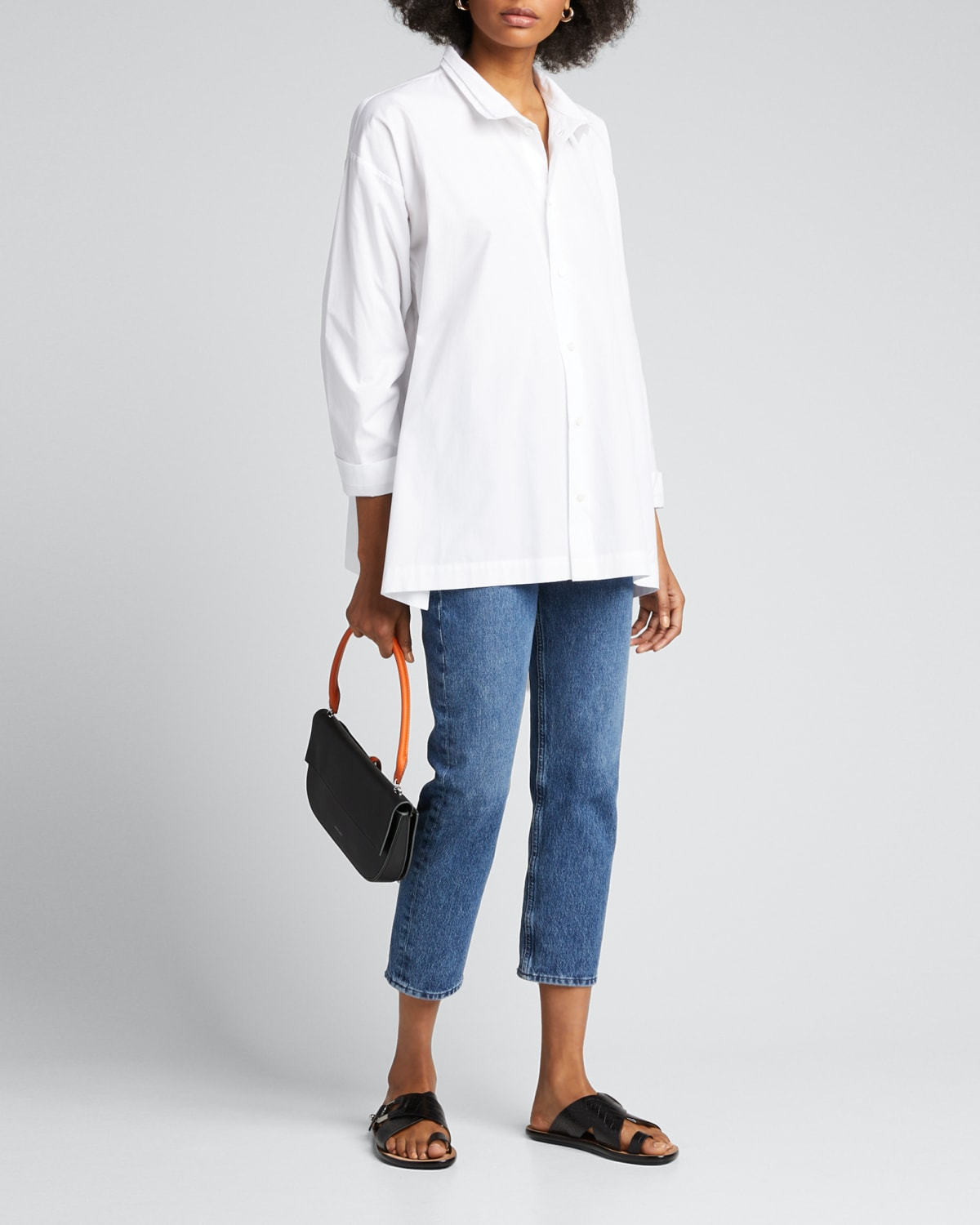 Two-Collar Button-Front Cotton Blouse