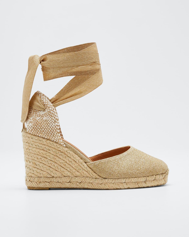 Carina Linen Wedge Espadrille Sandals