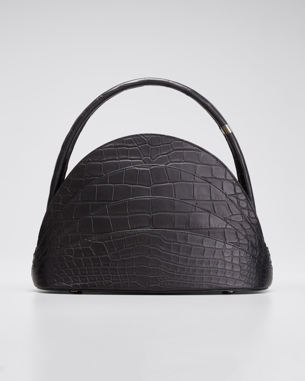 Crocodile Layered Top Handle Bag