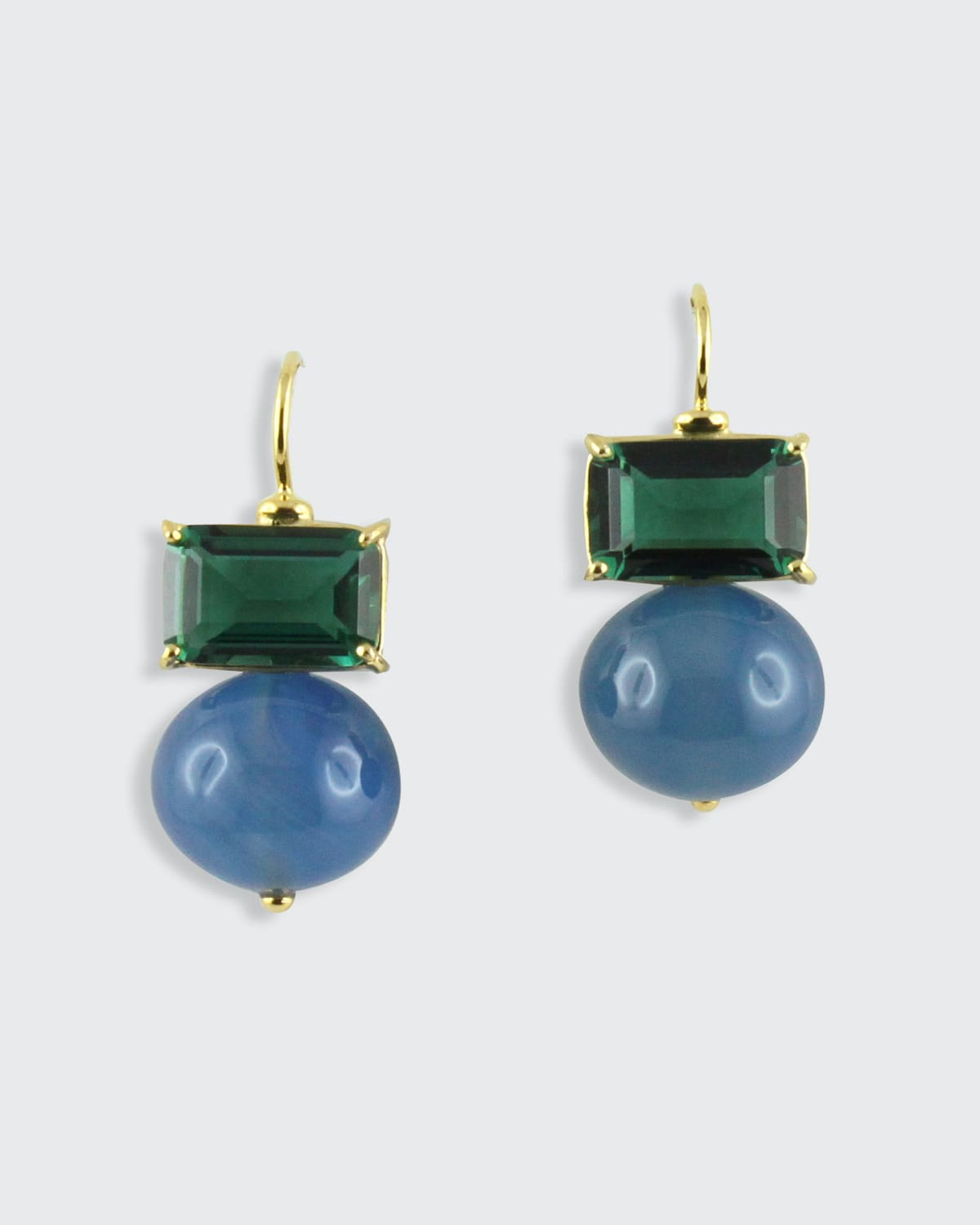Double-Stone Quartz and Agate Earrings