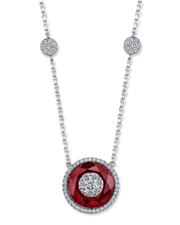 18k White Gold 13mm Halo Pendant Necklace w/ Diamonds