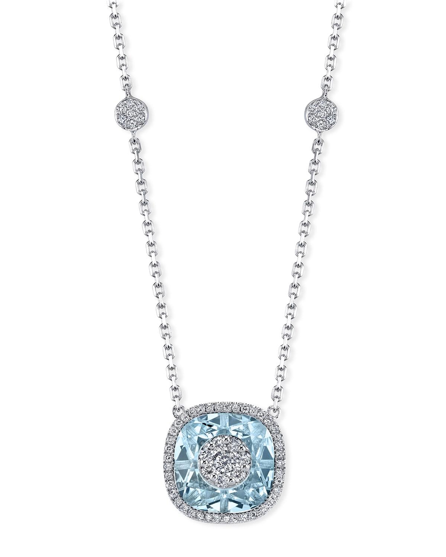 18k White Gold 10mm Cushion-Cut Necklace w/ Diamonds