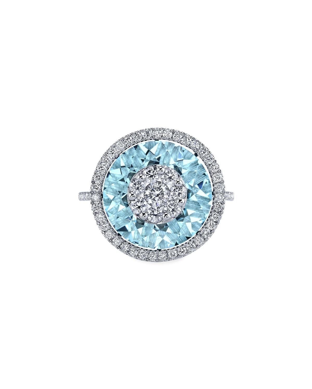 18k White Gold 13mm Halo Ring w/ Diamonds