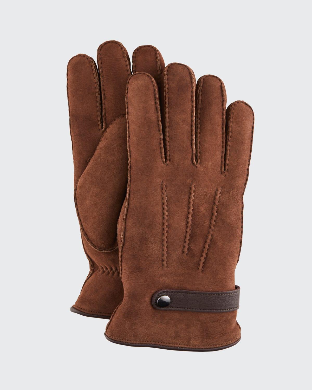 Men's Shearling Gloves With Deer Strap