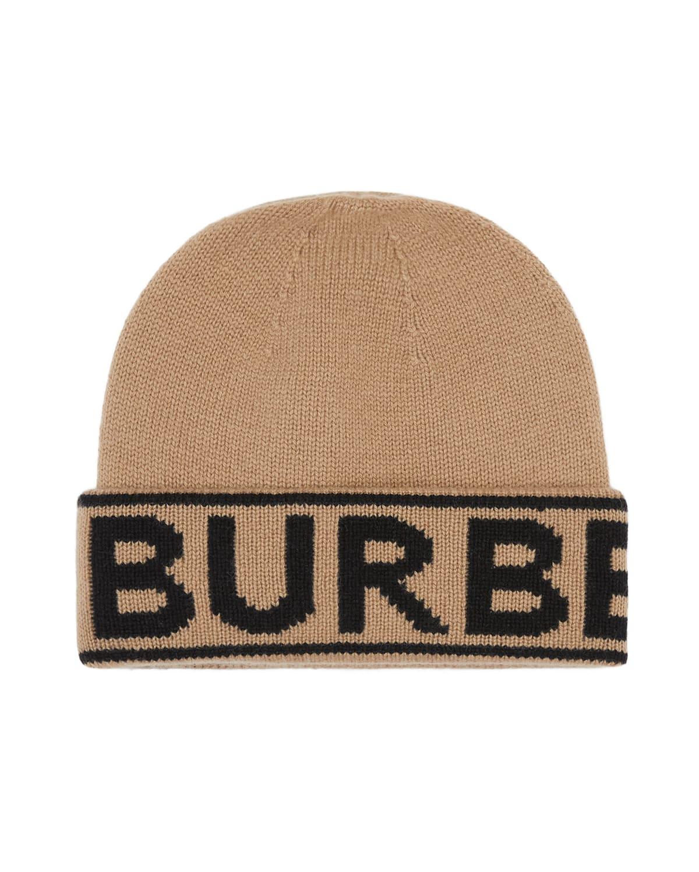 Logo Knit Cashmere Beanie Hat