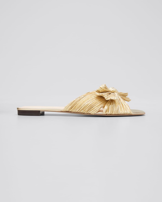 Daphne Metallic Knotted Slide Sandals