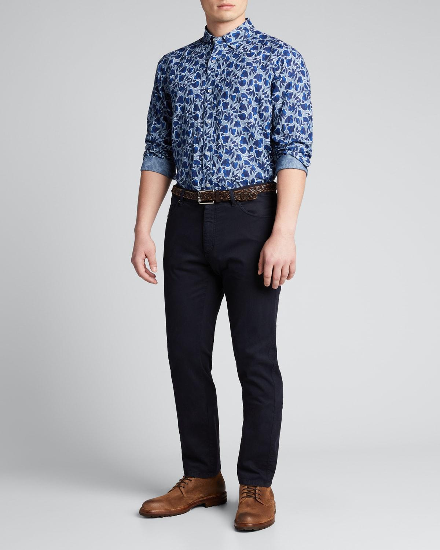 Men's Floral-Print Linen Sport Shirt