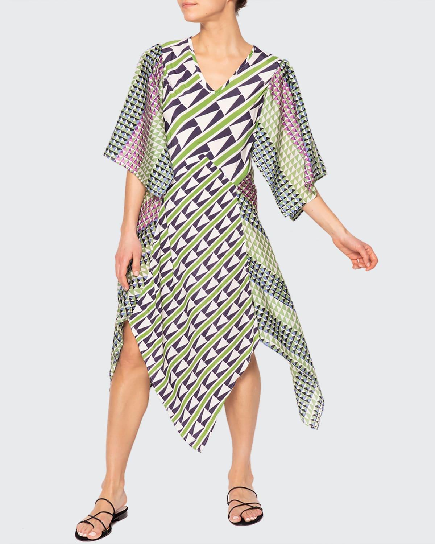 Athena Geometric Bias-Cut Panel Skirt Dress