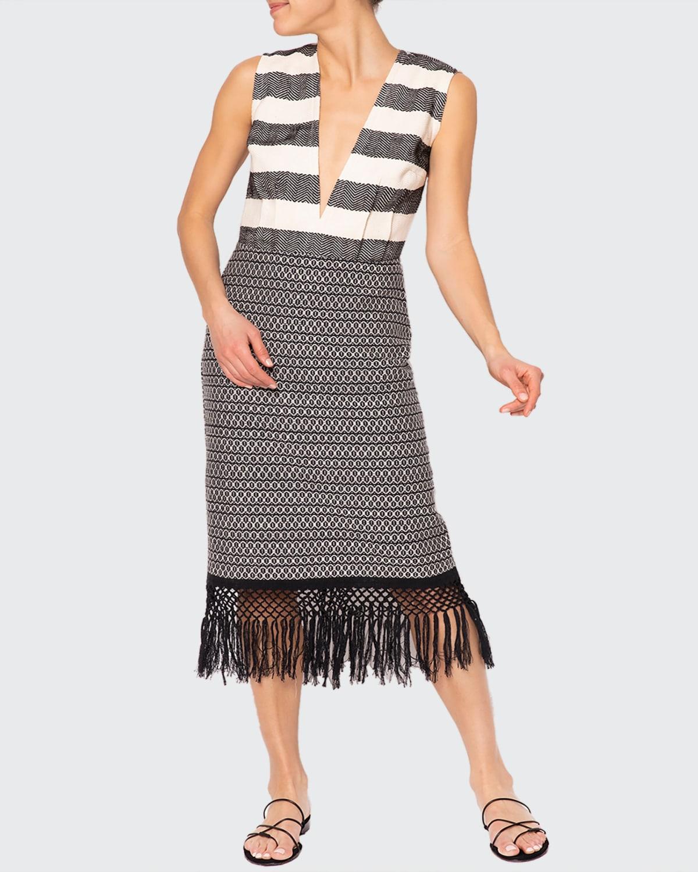 Yalitza Backless Plunge-Neck Maxi Dress w/ Fringe Skirt