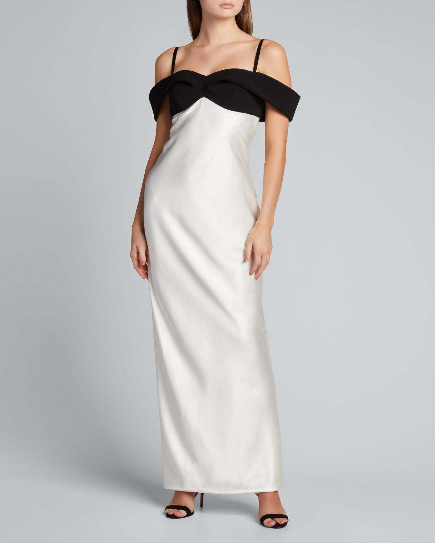 Draped Satin Off-Shoulder Gown