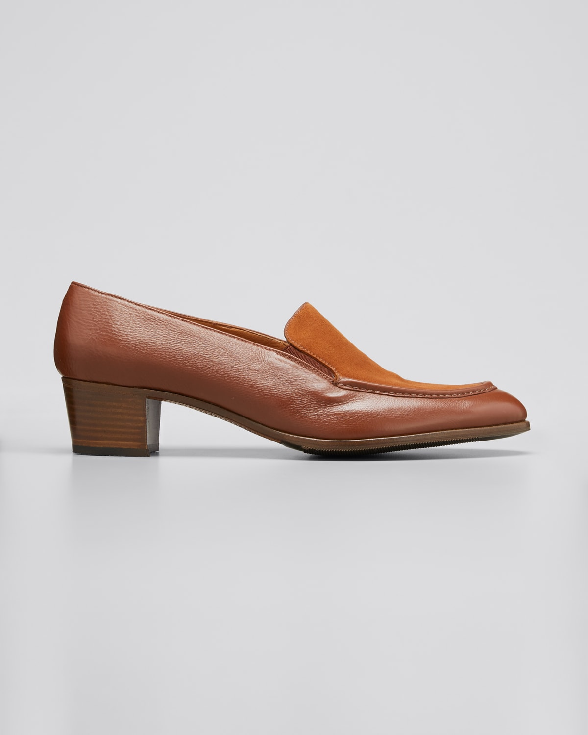 Mixed Leather Heeled Loafer