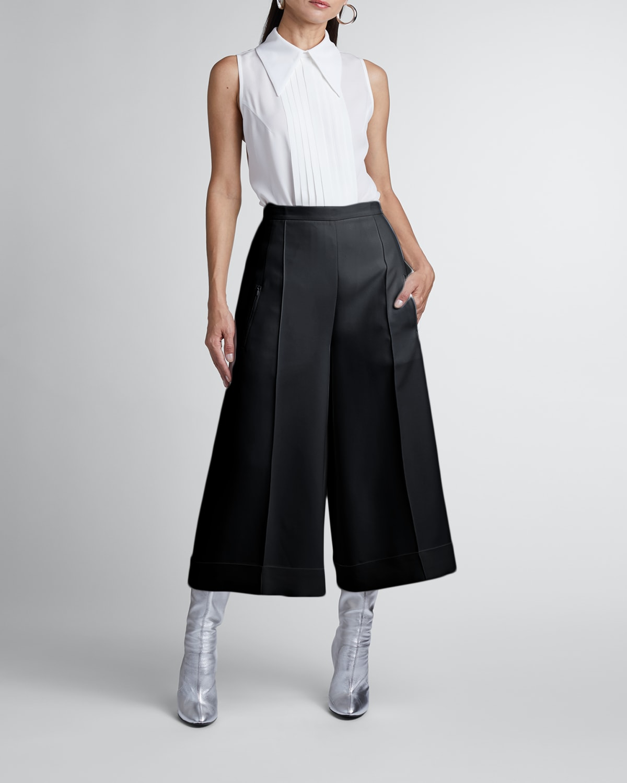 Cuffed Wide-Leg Pleated Crepe Culottes