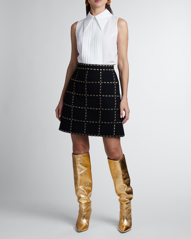 Quilt Check Mini Wool Skirt