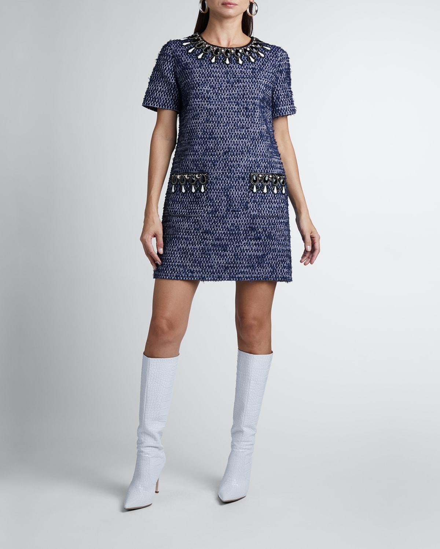 Embellished Short-Sleeve Tweed Mini Dress