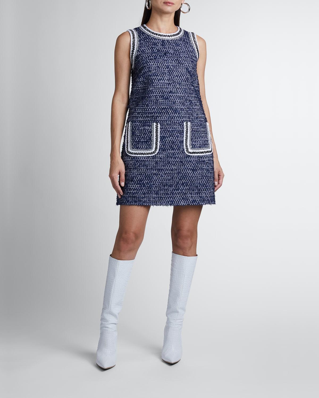 Patch Pocket Sleeveless Mini Tweed Dress
