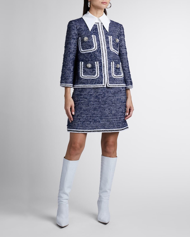 Embellished Cropped Tweed Jacket