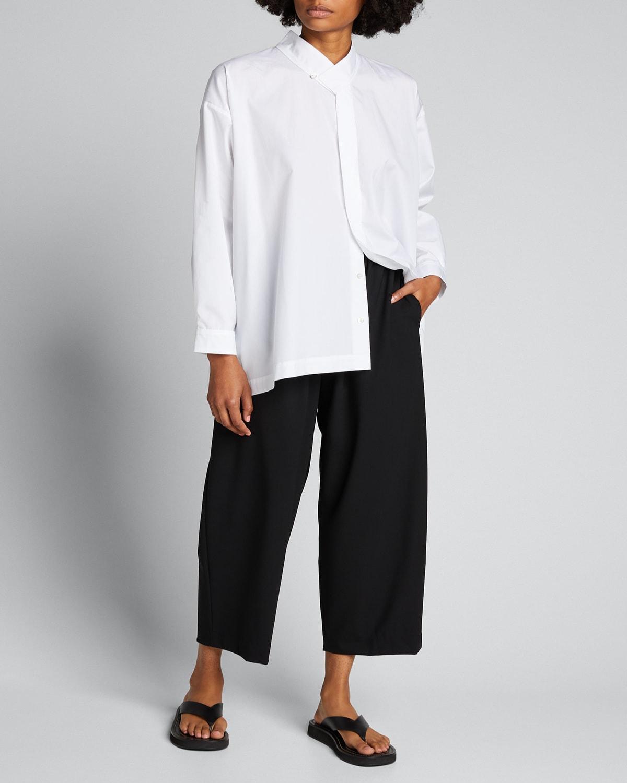 Collared A-Line Cotton Button-Down Shirt