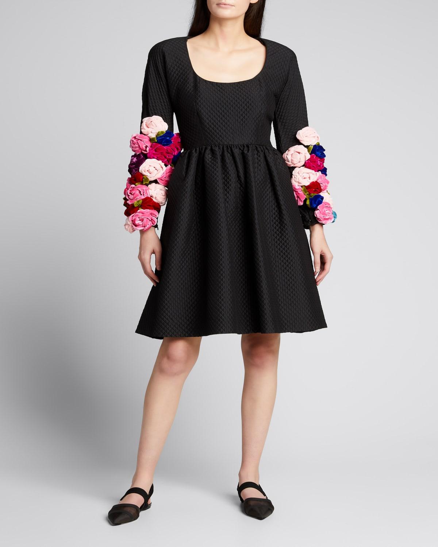Vintage Velvet Roses Quilted Dress