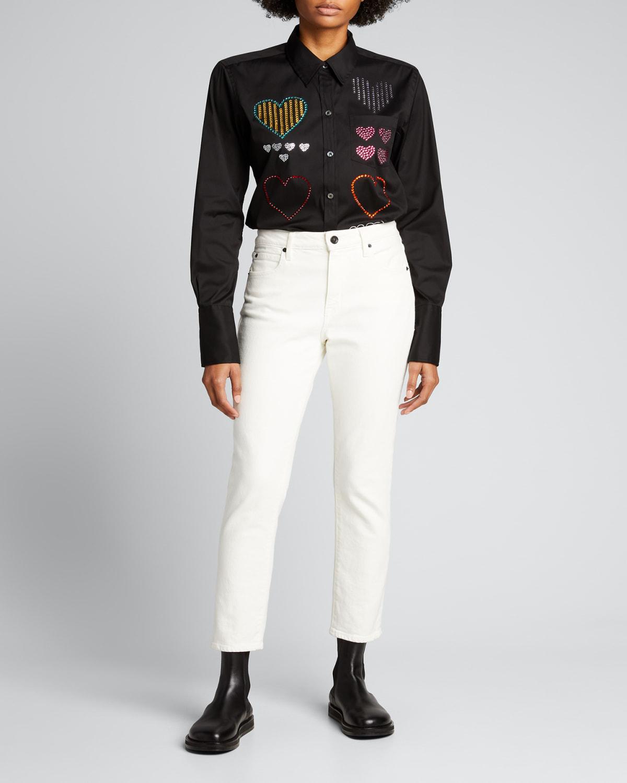 Hearts Embellished Classic Shirt