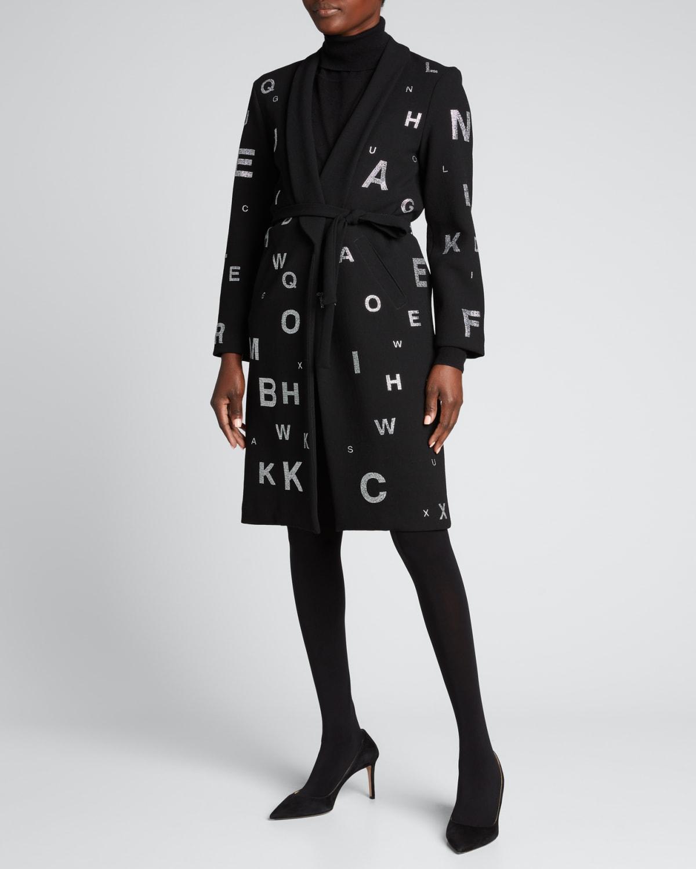 Eye Test Crystal-Embellished Wrap Coat