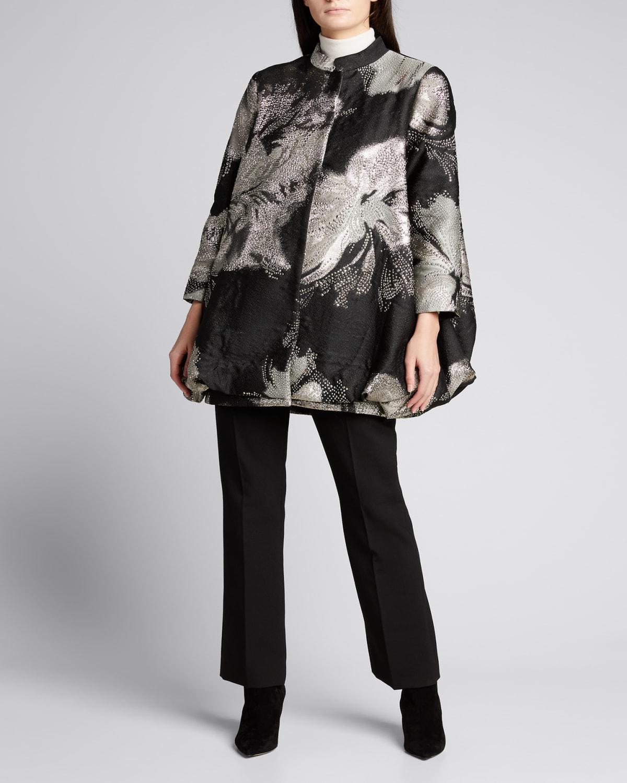 Night Flower Metallic Jacquard Cocoon Coat
