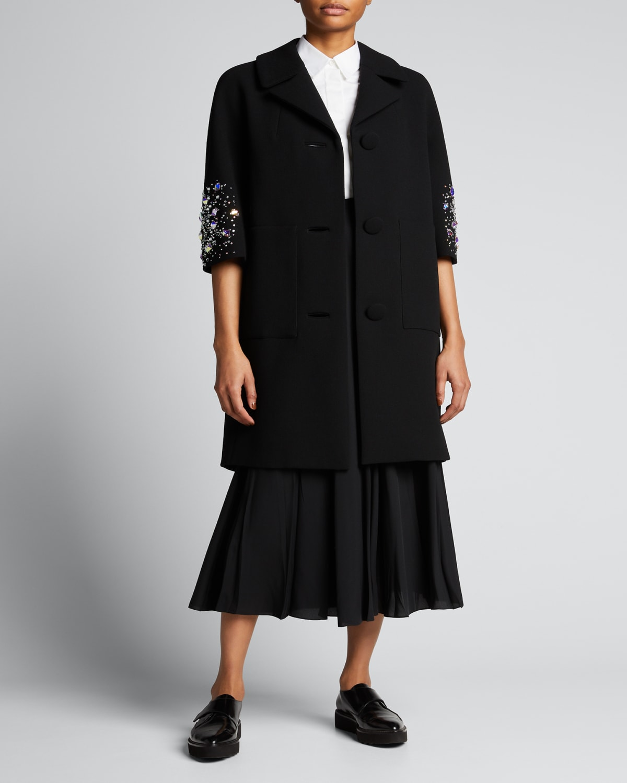 Stars Collide Embellished Stretch-Wool Coat