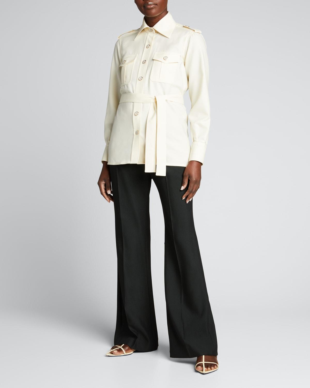 Wool Safari Belted Shirt