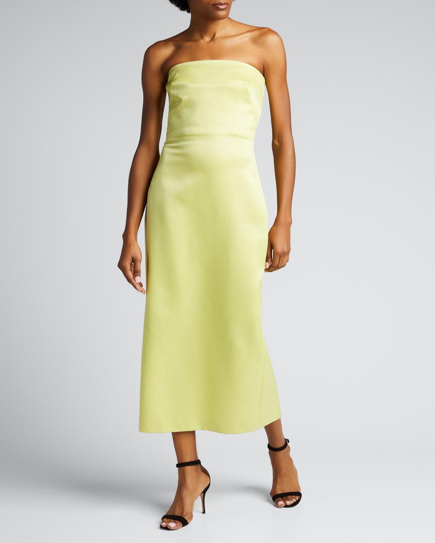 Strapless Wool-Silk Midi Dress