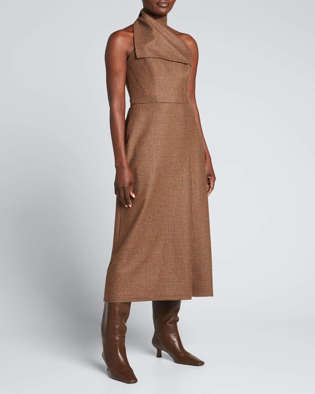 Wool Plaid Midi Halter Dress