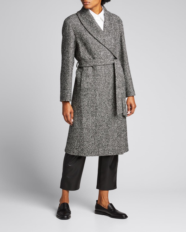 Novel Wool-Blend Wrap Coat