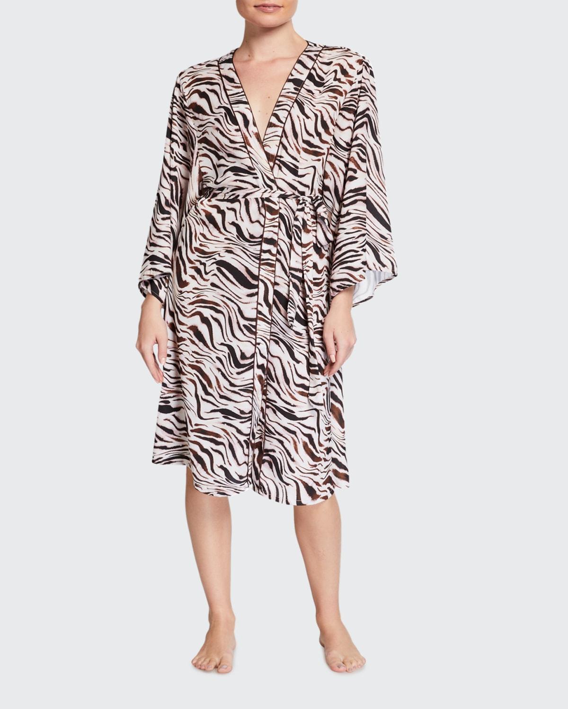 Jane Zebra-Print Coverup Kimono