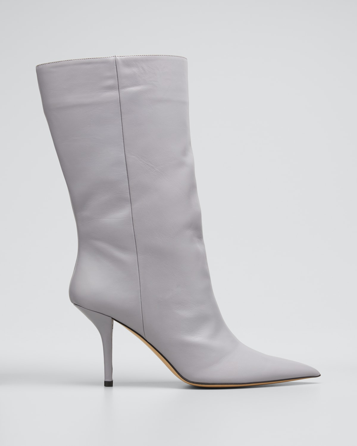 85mm Leather Stiletto Mid-Calf Boots