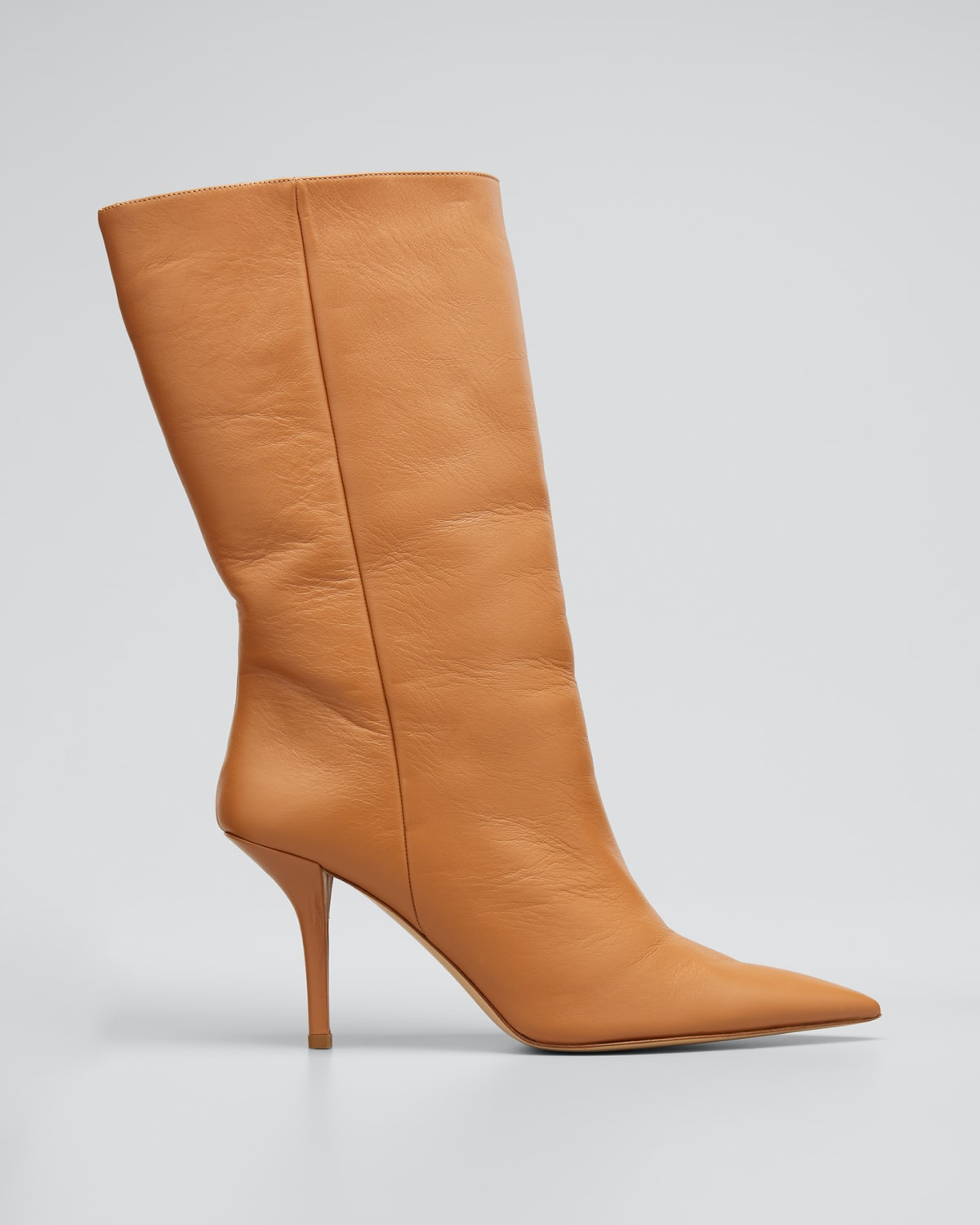 85mm Pointed Leather Mid-Heel Boots