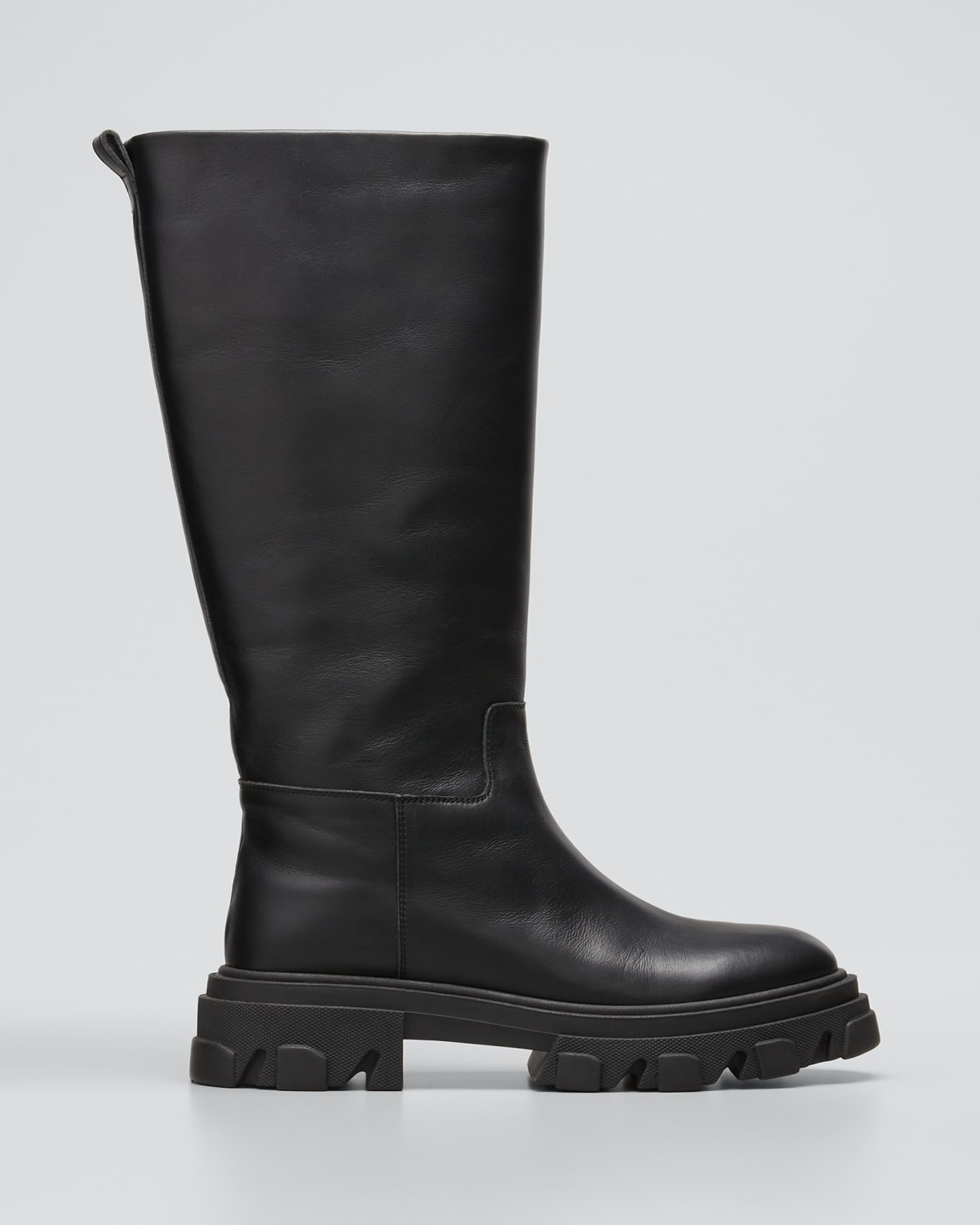 Tubular Leather Tall Combat Boots