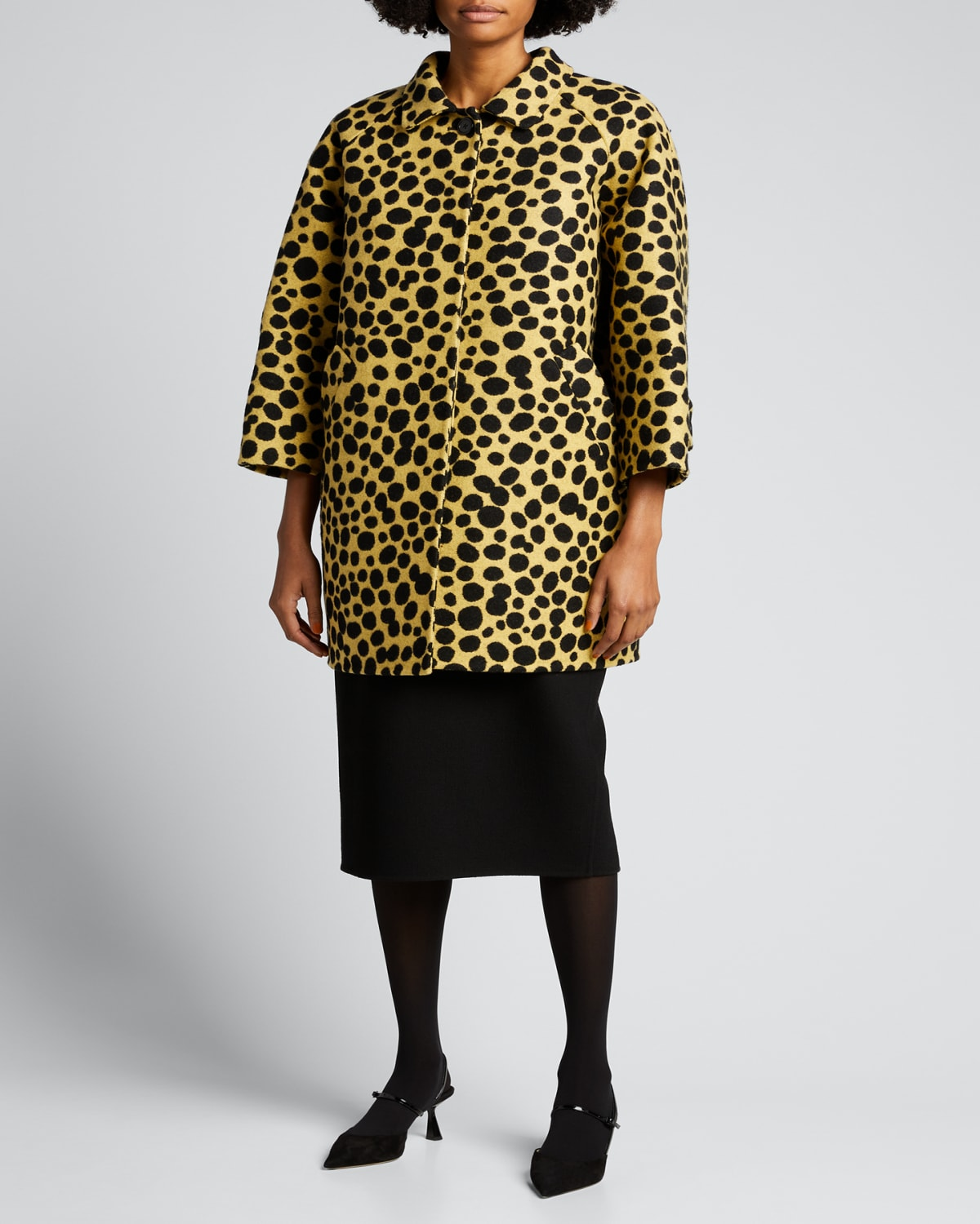 Spotted Oversized Wool-Blend Coat