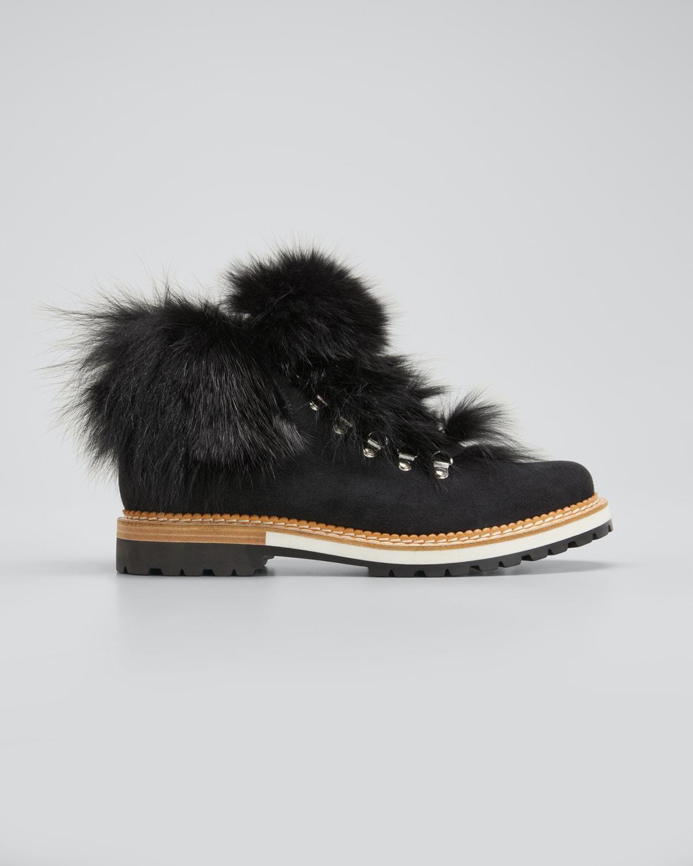 Clara Suede Fur Hiker Boots