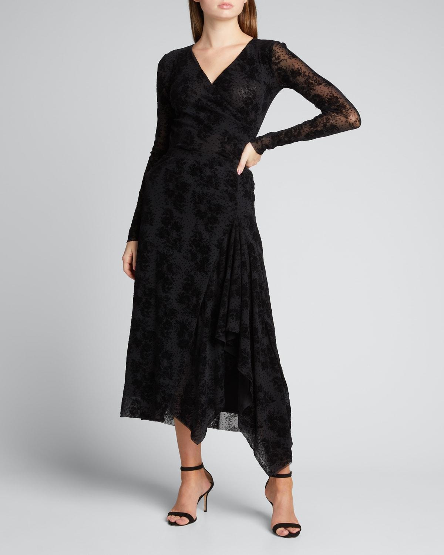 Flocked Tulle Midi Skirt