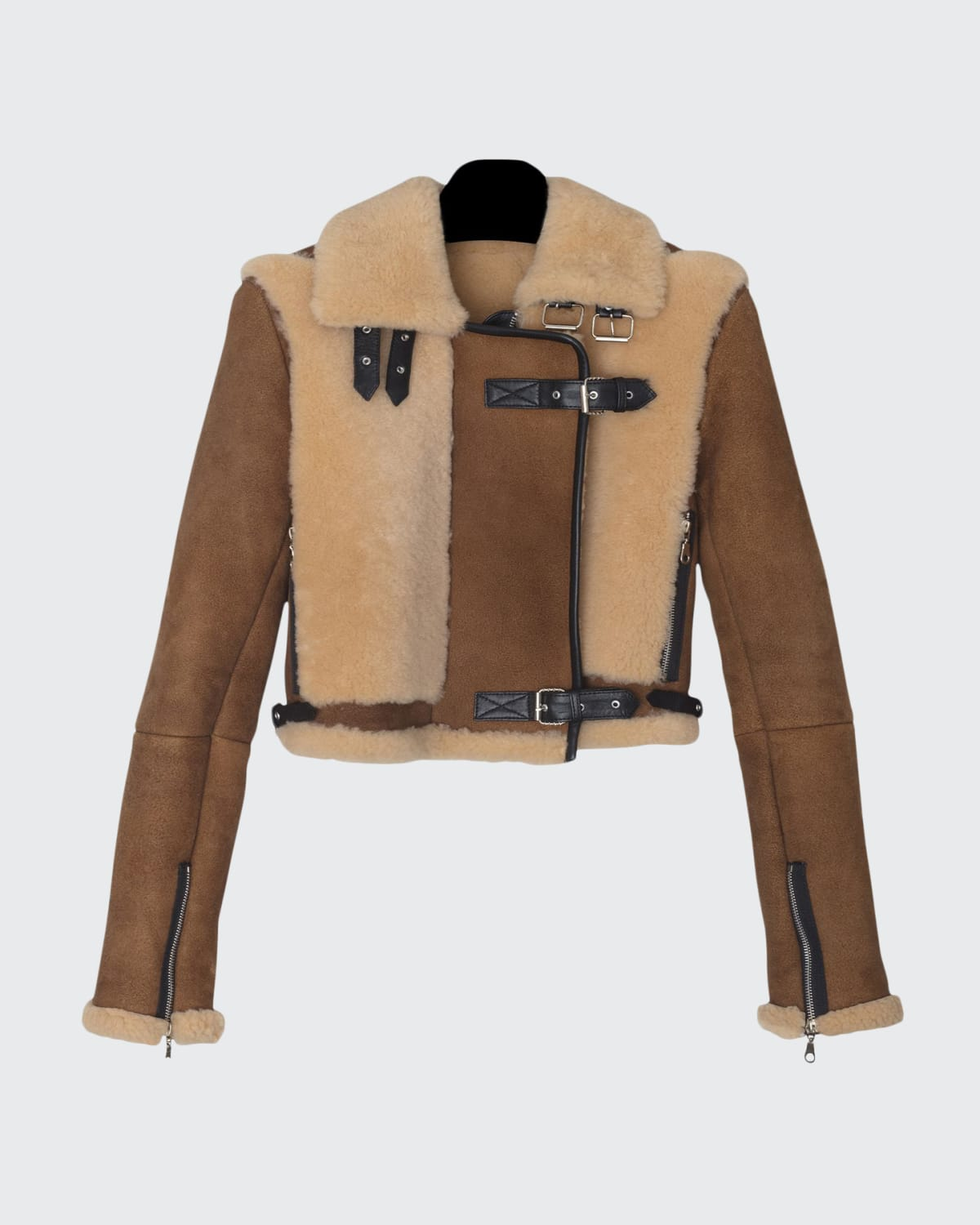 Alanis Belted Leather and Shearling Jacket