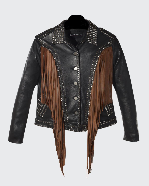 Geovana Studded Leather Jacket w/Suede Fringe
