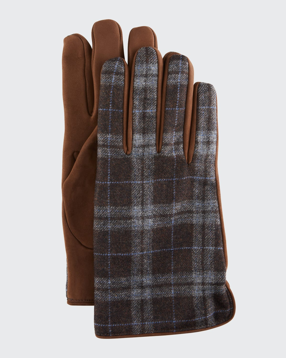 Men's Tweed Gloves with Leather Palms