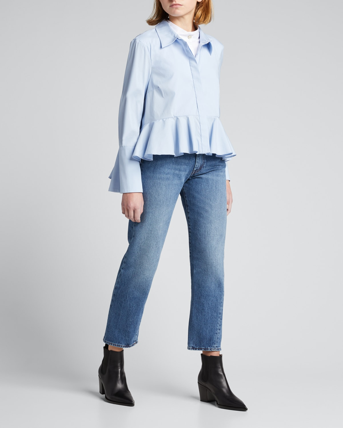 Leslie Layered Ruffle Button-Down Top