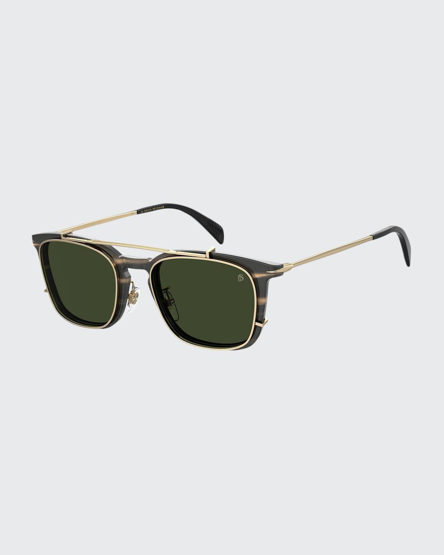 Men's Square Acetate Brow-Bar Sunglasses