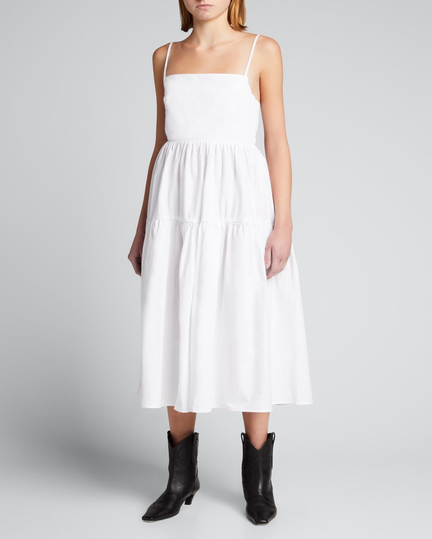 Gioia Square-Neck Tie-Back Midi Dress